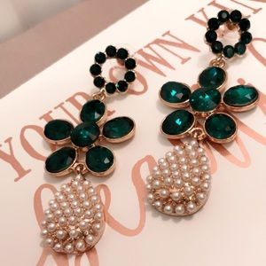 New Emerald wreath earrings